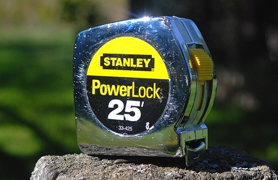 Stanley Powerlock Measuring Tape review on a rock