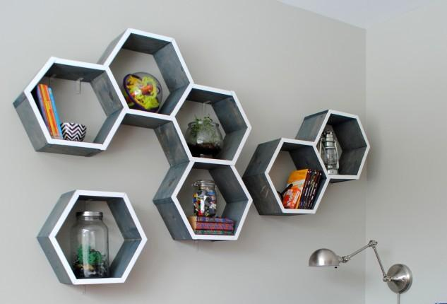 Hand-made wall shelves. How to make a honeycomb (hexagon) shelf with your own hands