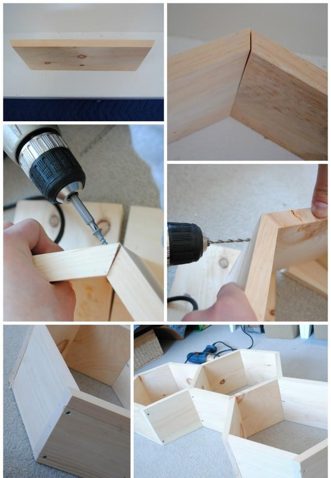 DIY wall shelf -- Step 2 -- Assembly. How to make a honeycomb (hexagon) shelf with your own hands