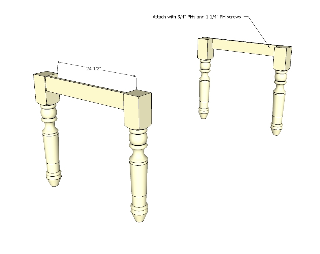 How to Make a Dining Farmhouse Table Plans blueprints – Step-by-Step DIY Guide -- Step 2: Assemble the legs and aprons