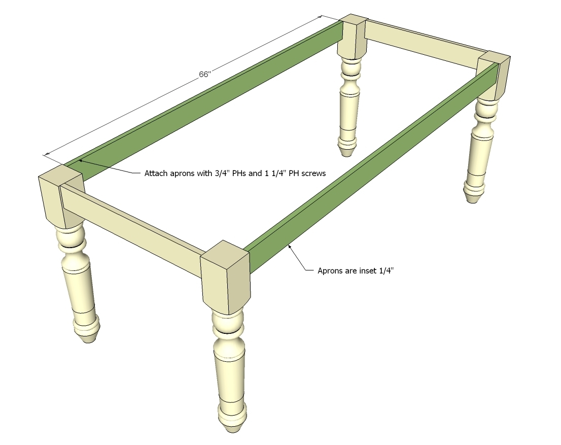 How to Make a Dining Farmhouse Table Plans blueprints – Step-by-Step DIY Guide -- Step 3: Create a frame with side-aprons