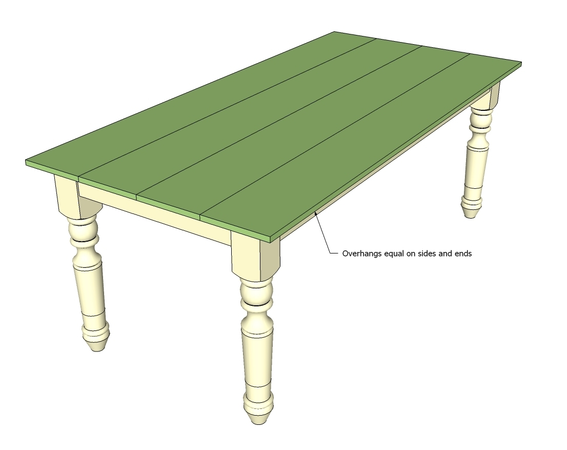 How to Make a Dining Farmhouse Table Plans blueprints – Step-by-Step DIY Guide -- Step 6: Nail down the tabletop (you can also use Parker-screws)