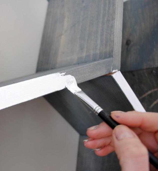 DIY wall shelf -- Step 3 -- Painting. How to make a honeycomb (hexagon) shelf with your own hands