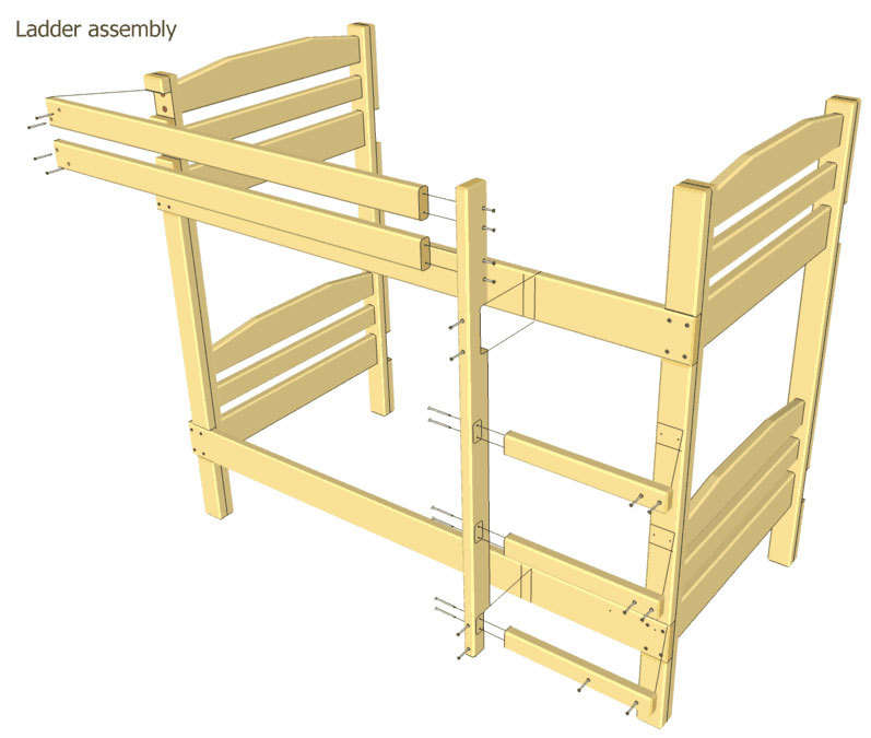 How to make a DIY bunk bed / double deck bed - Step-by-Step Guide - Ladder assembly