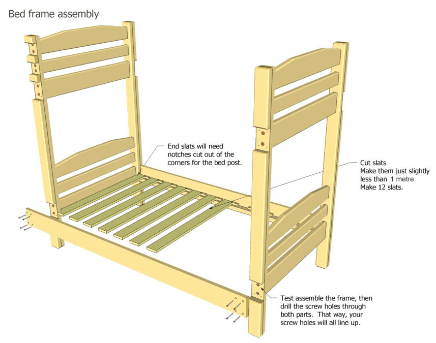 How to make a DIY bunk bed / double deck bed - Step-by-Step Guide - Bunk bed frame assembly