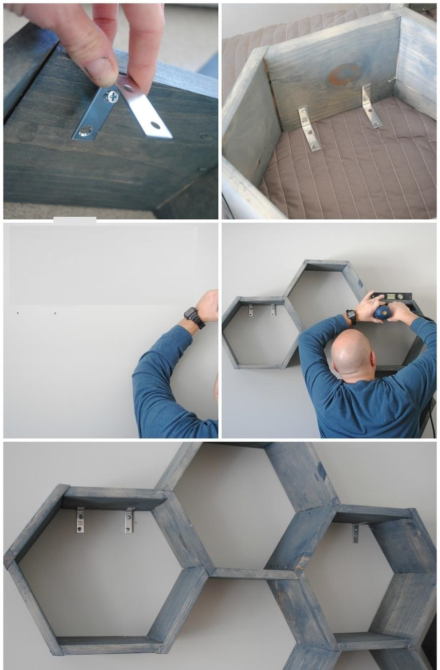 DIY wall shelf -- Step 4 -- Almost done. How to make a honeycomb (hexagon) shelf with your own hands