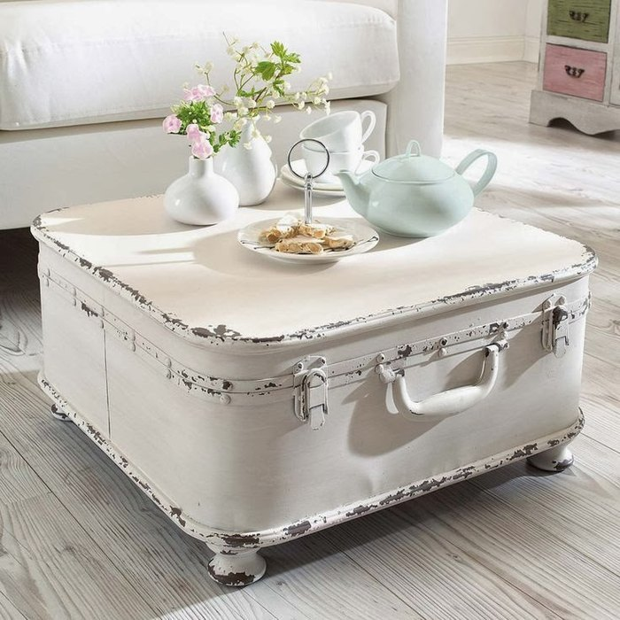 How to Make a Coffee Table -- Step-by-Step DIY Guide -- Rustic suitcase is reborn as a coffee table
