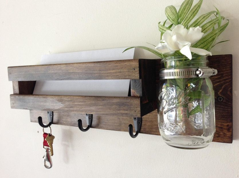 How to make a DIY Key Holder / Key hanger / key rack – Step-by-Step Guide -- This wood one even has a special place for a plant!