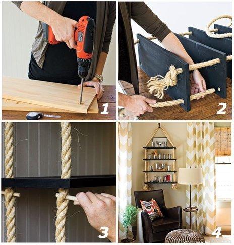 How to make a floating shelf Step-by-step DIY guide - Original rope shelf
