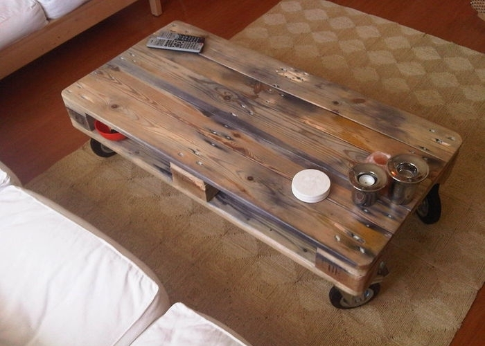 How to Make a Coffee Table -- Step-by-Step DIY Guide -- The pallet can be painted or left in its natural form, installed on casters or small legs, made of glass or plywood