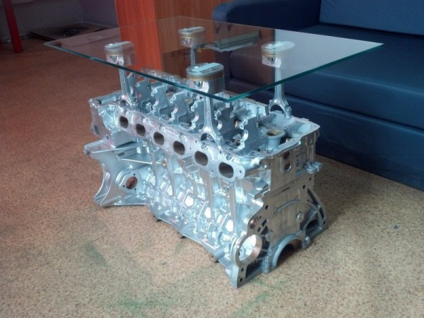 How to Make a Coffee Table -- Step-by-Step DIY Guide -- Because who doesn't have spare V8's in the closet