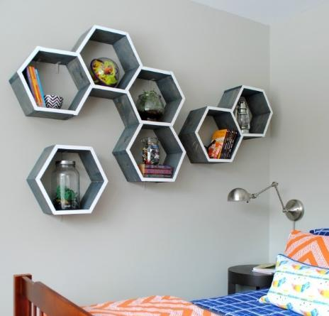 DIY wall shelf -- Step 5 -- DONE. How to make a honeycomb (hexagon) shelf with your own hands