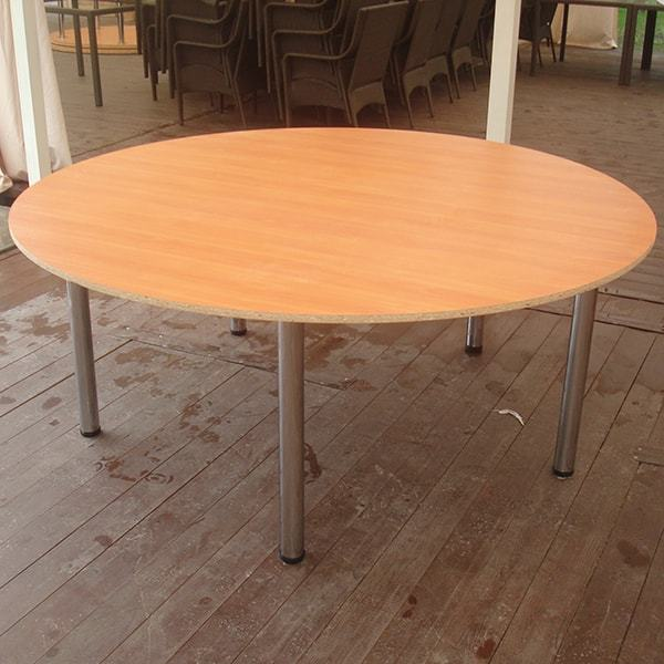 How to make a DIY round wooden table -- Large round chipboard table with metal legs