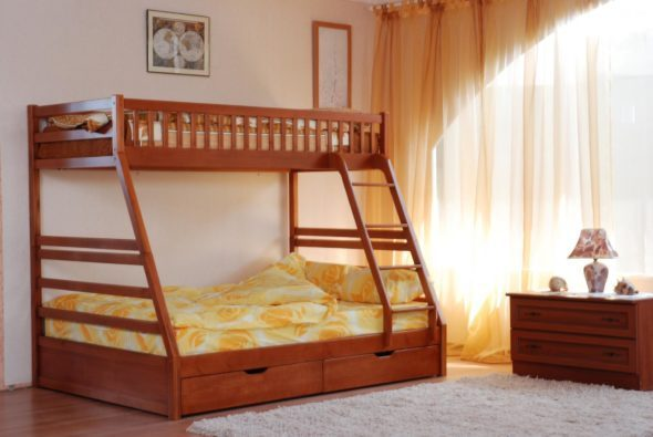 How to make a DIY bunk bed / double deck bed - Step-by-Step Guide - Wooden bunk bed with double berth - a good solution for three people