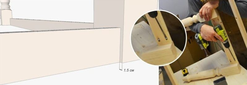 How to Make a Dining Farmhouse Table Plans blueprints – Step-by-Step DIY Guide -- Fastening table aprons