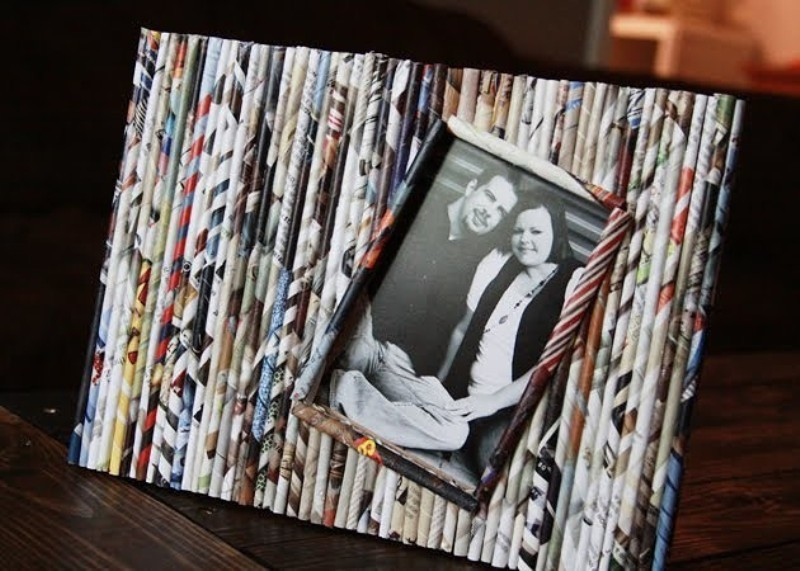 How to Make a DIY Picture Frame – Step-by-Step Guide -- To fix a photo or canvas in handmade newsprint frames, use small carnations or duct tape