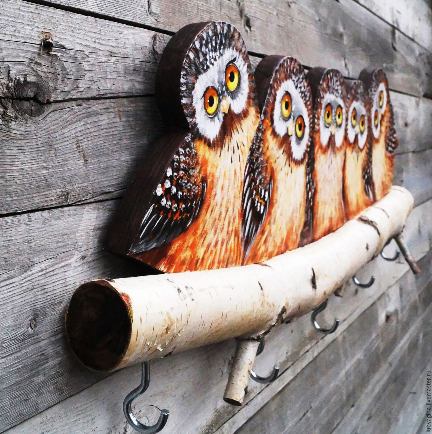 How to make a DIY Key Holder / Key hanger / key rack – Step-by-Step Guide -- Key hanger from a birch with cute little owls