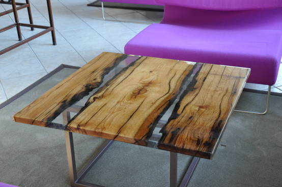 How to make a DIY Epoxy Resin Table - River Table – Step-by-Step Guide -- To remove the air bubbles that appear, you should warm up the surface with a construction hairdryer