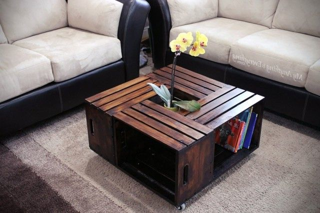 How to Make a Coffee Table -- Step-by-Step DIY Guide -- Wooden fruit/vegetable crates or boxes - a versatile material for creating DIY furniture