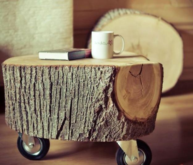 How to Make a Coffee Table -- Step-by-Step DIY Guide -- Sanded stump or log can be placed directly on the floor or wheels can be attached